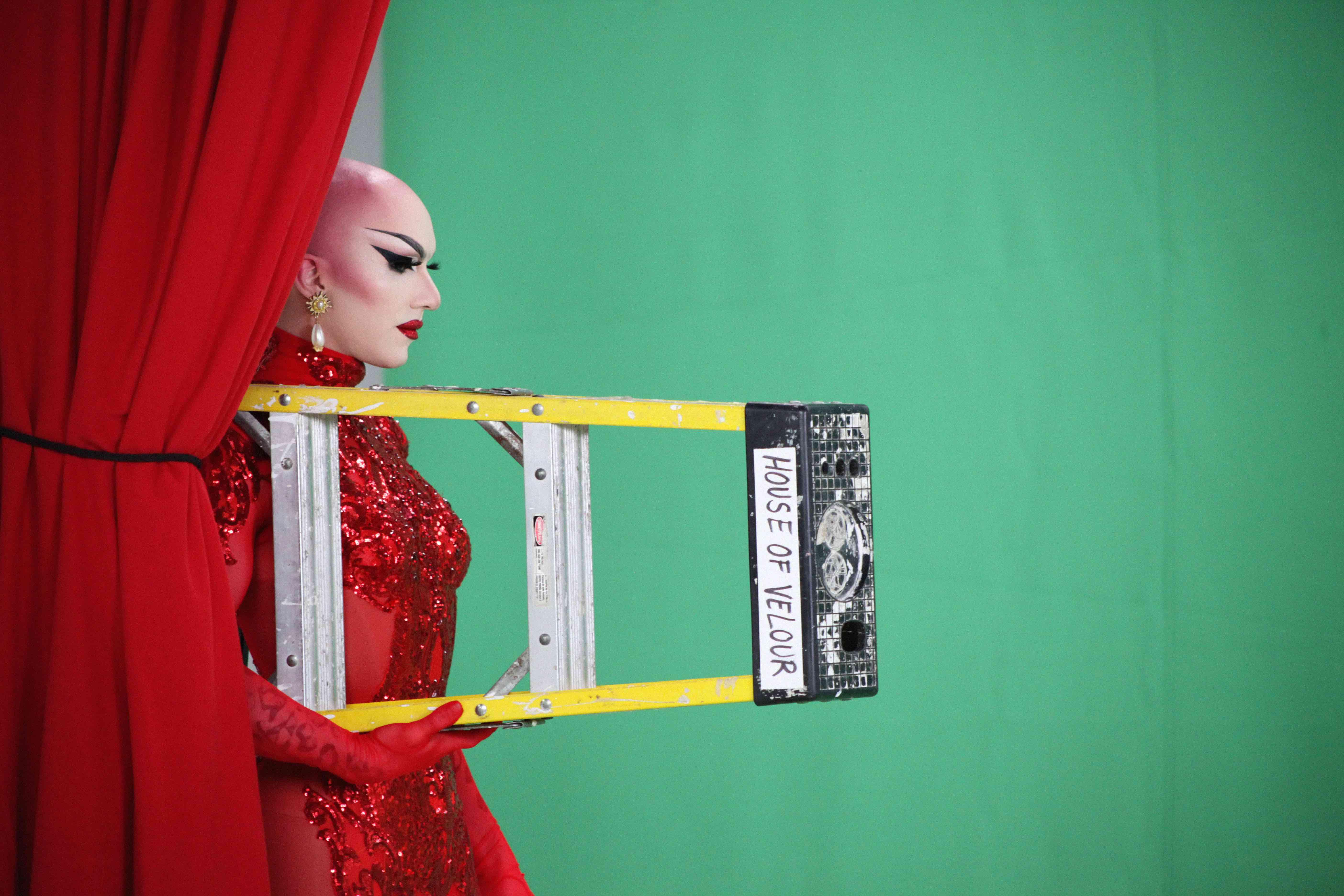 Sasha Velour behind the scenes of