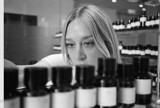 Chloë Sevigny in the perfume lab (photo: Alex Phillipe Cohen)